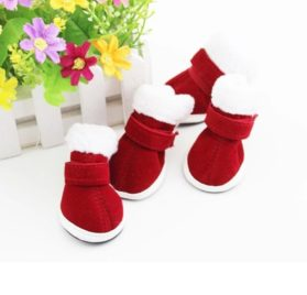 AMA(TM) 4pcs Pack Pet Dog Puppy Chihuahua Non-Slip Boots Christmas Dress Up Winter Snow Warm Walking Boots Shoes Socks 2