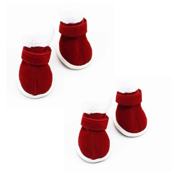 AMA(TM) 4pcs Pack Pet Dog Puppy Chihuahua Non-Slip Boots Christmas Dress Up Winter Snow Warm Walking Boots Shoes Socks