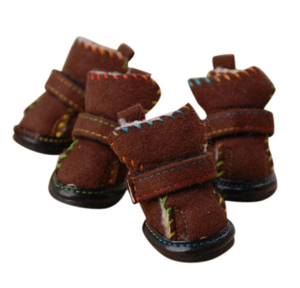 AMA(TM) 4pcs Small Pet Dog Puppy Chihuahua Non-Slip Boots Outdoor Winter Snow Warm Walking Boots Shoes Dress Up Socks