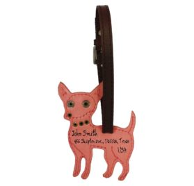 Chihuahua Dog Handmade Genuine Leather Luggage Tag Keychain 2