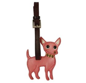 Chihuahua Dog Handmade Genuine Leather Luggage Tag Keychain