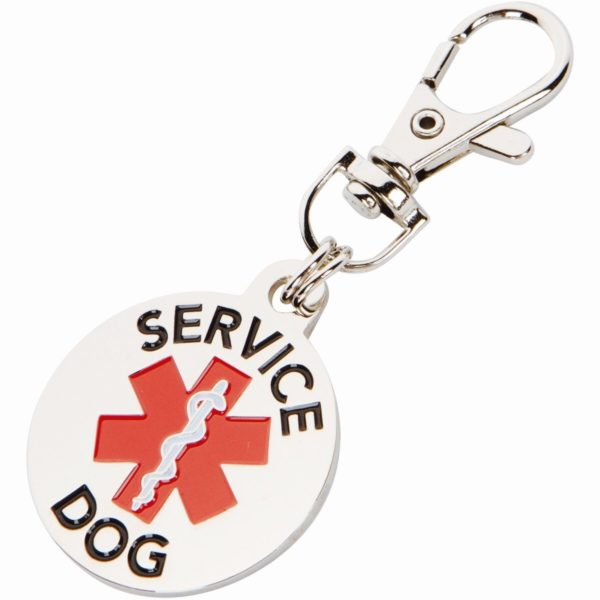 DOUBLE SIDED SERVICE DOG with Red Medical Alert Symbol 1.25 inch Durable Stainless Steel Dog Tag
