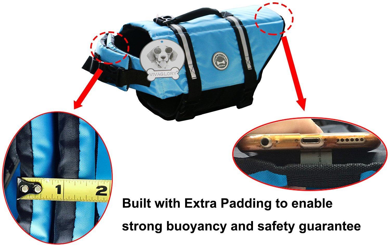 Vivaglory Dog Life Jacket Size Adjustable Dog Lifesaver