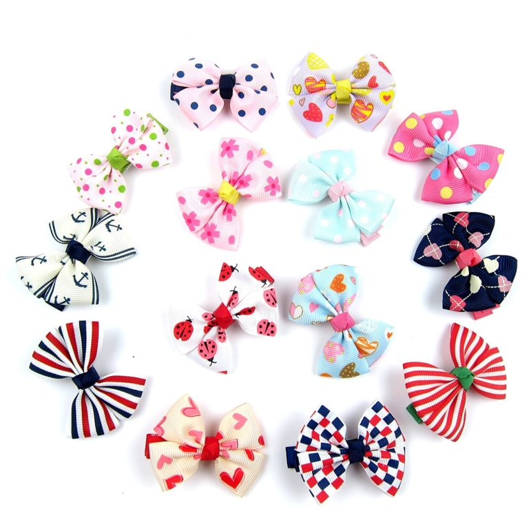 Alfie Pet by Petoga Couture - Edena Bow Hair Clip 14-Piece Set for Dogs, Cats and Small Animals
