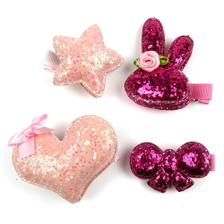 Alfie Pet by Petoga Couture - Gloris Shinny Hair Clip 4-Piece Set for Dogs, Cats and Small Animals