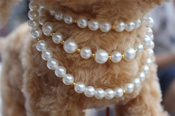 3 Sizes Handmade Cat Dog Necklace Jewelry 3 Layers with Bling Pearls Gorgeous for Pets Cats Puppy Dogs Puppy Chihuahua Yorkie Girl Costume Outfits