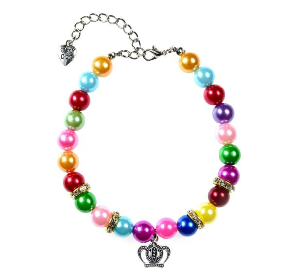 3 Sizes Handmade Cat Dog Necklace Jewelry with Bling Rhinestone Colorful Pearls Gorgeous for Pets Cats Puppy Dogs Puppy Chihuahua Yorkie Girl Costume Outfits