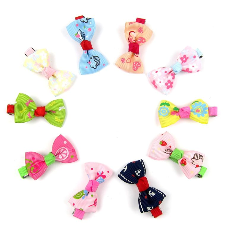 Alfie Pet by Petoga Couture - Aimi Bow Hair Clip 10-Piece Set for Dogs, Cats and Small Animals