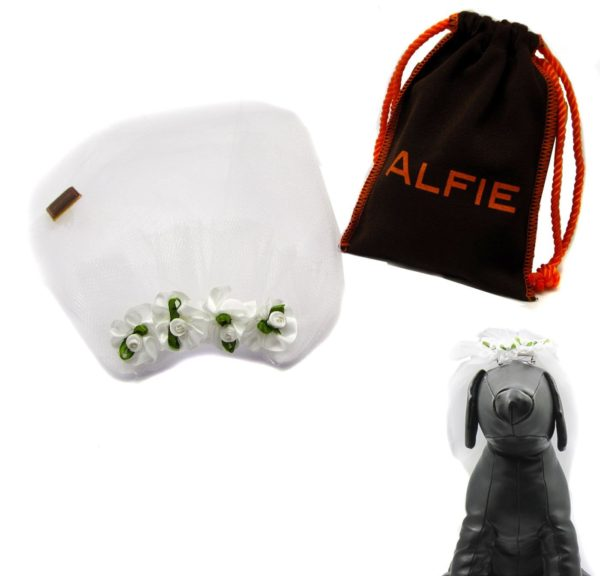 Alfie Pet by Petoga Couture - Rosie Bridal Wedding Clip Veil with Fabric Storage Bag