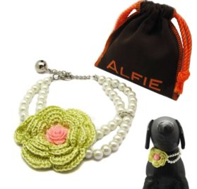 Alfie Pet by Petoga Couture - Senna Floral Double Layer Pearl Necklace for Dogs and Cats with Fabric Storage Bag