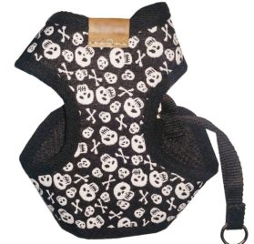 BWSC Dog Harness And Long Lead Set Skull For Chihuahua Doggie Puppy Black Colour 2