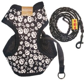 BWSC Dog Harness And Long Lead Set Skull For Chihuahua Doggie Puppy Black Colour