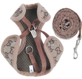 BWSC New Brown Floral Soft Dog Harness And Lead Set For Chihuahua Puppy Pug 2