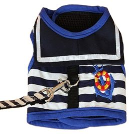 BWSC New Sailor Dog Harnesses And Lead Set For Chihuahua Doggie and Puppy Blue Colour