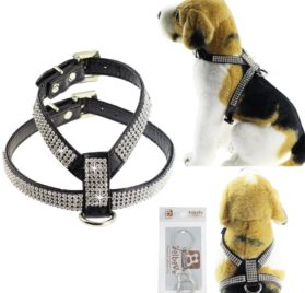 Bolbove Adjustable PU Leather Rhinestones Pet Collar Harness for Cats Puppy Small Dogs Chihuahua Teacup