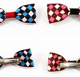 CatYou 4 PCS Set in Different Colors, Block Pattern Heart-shaped Bowknot Collar Bow-Tie with Bell for Cats or Small Dogs 2
