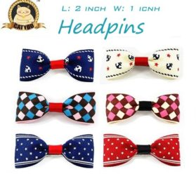 CatYou 4 PCS Set in Different Colors, Block Pattern Heart-shaped Bowknot Collar Bow-Tie with Bell for Cats or Small Dogs