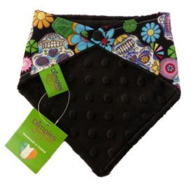 Dimples Dog Bandana - Black Mexican Skulls (handmade for all sizes and breeds) 2
