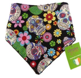 Dimples Dog Bandana - Black Mexican Skulls (handmade for all sizes and breeds)