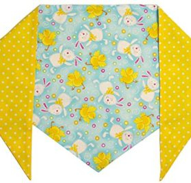 Dog Easter Bunny Bandana (M) Ties on 11-14 Neck
