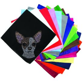 Dog in the Closet, Chihuahua Face - Rhinestone Dog Bandana - Choice of Color