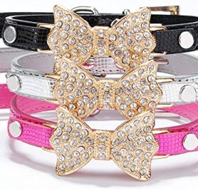 Dogs Kingdom Bling Rhinestone Bow Tie Collar Necklace Jewelry for Chihuahua Yorkie Girl Small or Medium Dogs Cats Pets Female Puppies 2