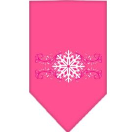 Mirage Pet Pink Snowflake Swirls Screen Print Dog Bandana