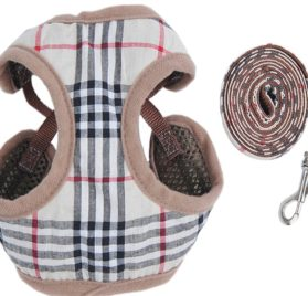 New Striped Soft Dog Harness And Lead Set For Chihuahua Pomeran Puppy