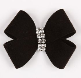 Nouveau Bow Ultrasuede Dog Hair Bow w Crystals by Susan Lanci Designs