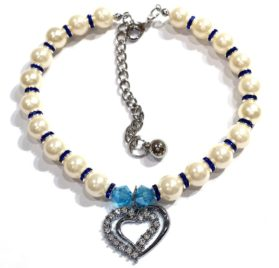 Pearl PET Necklace w Crystal CC-Heart Shape Charm (Mulit Color)