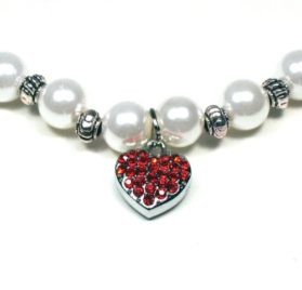 Pearl Pet Necklace with Crystal Heart Shape Charm 2