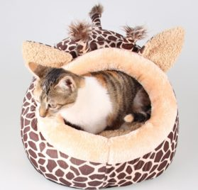 TTnight Animals Shape Pet Bed, 3 Sizes Giraffe Pattern Dogs House, Leopard Print Cats Puppy kennel for Small or Medium Pets 2
