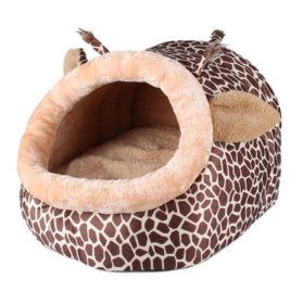 TTnight Animals Shape Pet Bed, 3 Sizes Giraffe Pattern Dogs House, Leopard Print Cats Puppy kennel for Small or Medium Pets