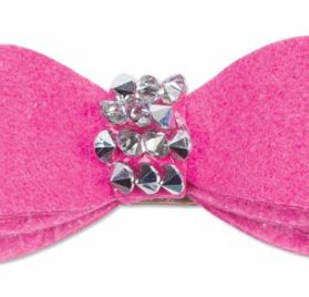 Ultrasuede Hair Bow w Swarovski Crystal Rocks for Dogs