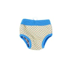 uxcell Pet Dog Dots Print Drawstring Closure Waist Diaper Pants Unerwear XS Beige Blue 2
