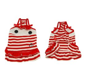 Dog Dress Puppy Sailor Red and White Striped Cotton Dress (Sizes are available) 2