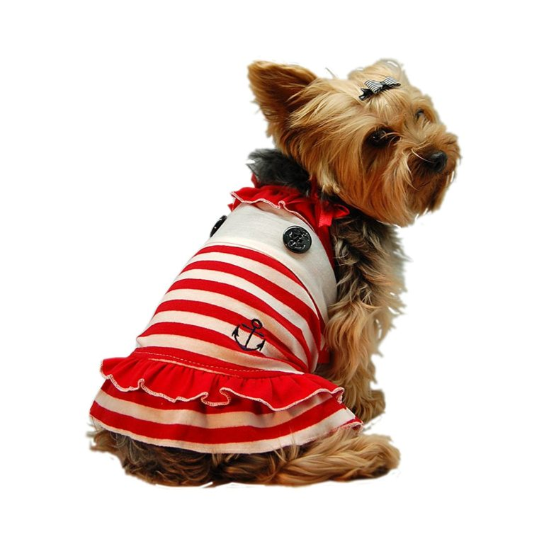 Dog Dress Puppy Sailor Red and White Striped Cotton Dress (Sizes are available)