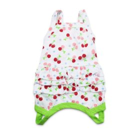 DroolingDog Pet Dog One Piece Dresses with 3-Tier Ruffle Pleated Skirts for Small Dogs