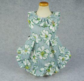 Fitwarm Floral Ribbon Pet Clothes for Dog Dresses Vest Shirts Sundress Blue 2