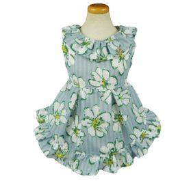 Fitwarm Floral Ribbon Pet Clothes for Dog Dresses Vest Shirts Sundress Blue