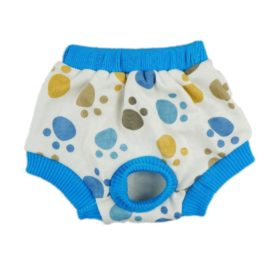Fitwarm Pet Cute Paws Sanitary Pants Dog Diaper Season Heat Nappies Washable Clothes Apparel