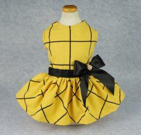 Fitwarm Vintage Ribbon Dog Dress Pet Clothes Vest Shirts Yellow 2
