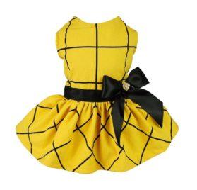 Fitwarm Vintage Ribbon Dog Dress Pet Clothes Vest Shirts Yellow