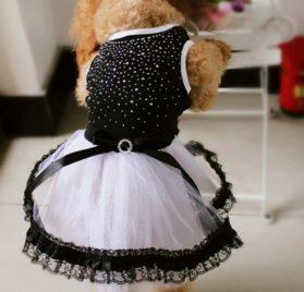 Norbi Pet Dog Puppy Bow Rhinestone Princess Lace Tutu Dress Clothes 2