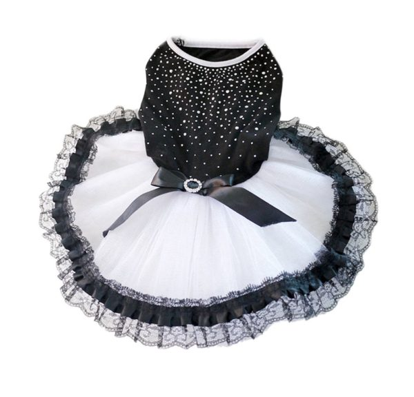 Norbi Pet Dog Puppy Bow Rhinestone Princess Lace Tutu Dress Clothes