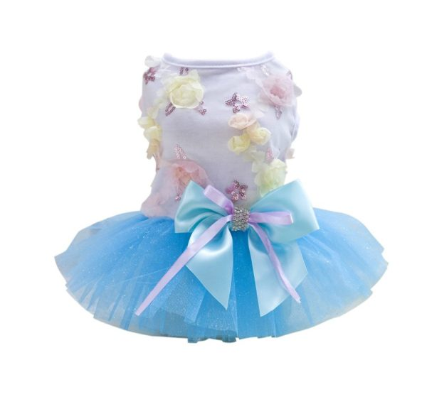 Patgoal Pet Dog Cat Clothes Summer Bowknot Lace Princess Skirt Party Tutu Dress