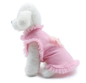 Pink Lace Bowknot Sleeveless Small Dog Vest Cute Cotton Girl Puppy Princess Style Clothes Doggy Apparel Perfect for Spring,Summer and Autumn 2