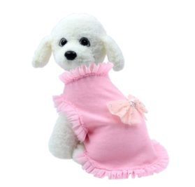 Pink Lace Bowknot Sleeveless Small Dog Vest Cute Cotton Girl Puppy Princess Style Clothes Doggy Apparel Perfect for Spring,Summer and Autumn