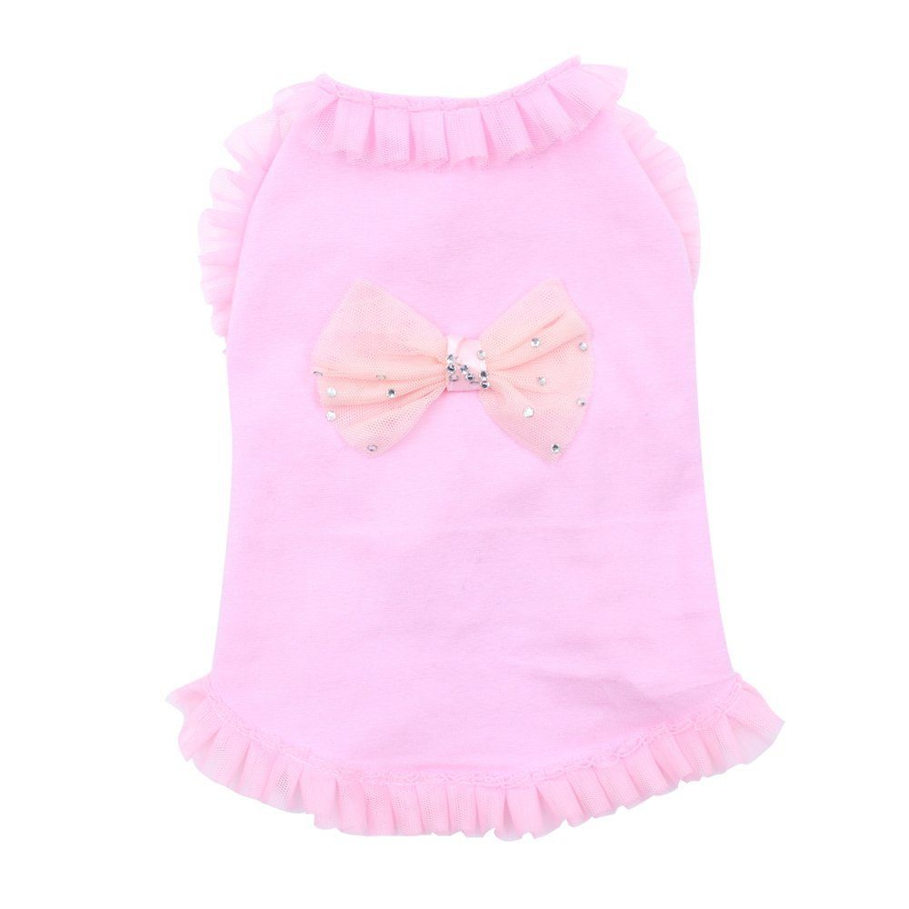 Pink Lace Bowknot Sleeveless Small Dog Vest Cute Cotton