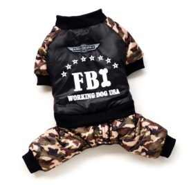 SMALLLEE_LUCKY_STORE Pet FBI Four Legs Cotton Padded Coat